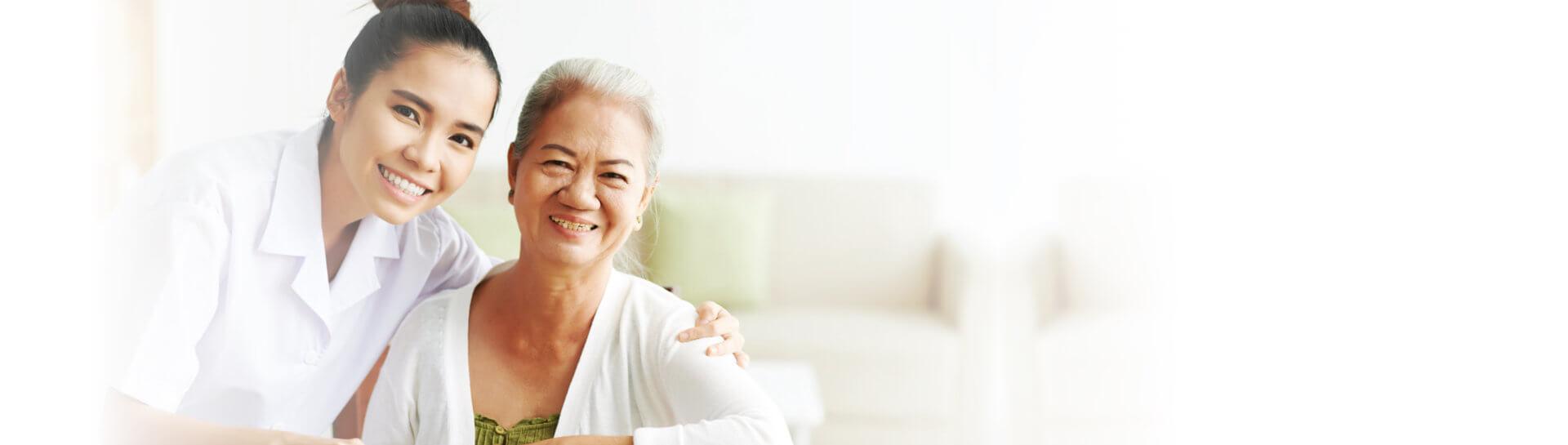 elder woman with her caregiver
