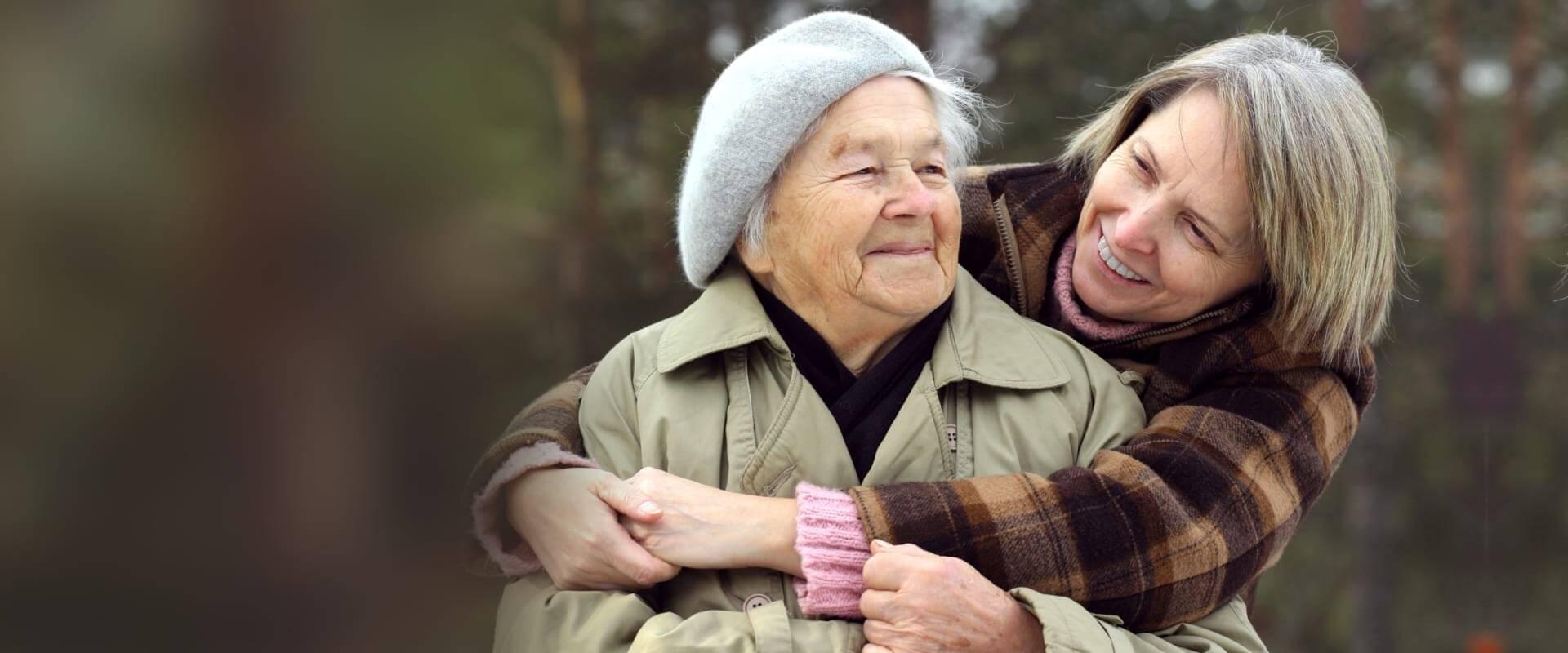 elder woman with her daughter